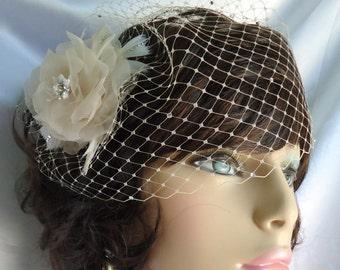 Champagne Veil Set, Detachable Rose, Champagne Bridal Set, Bridal Veil Set, REX16-3033