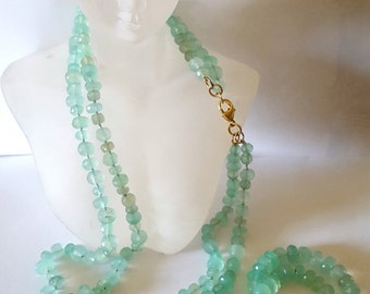 AQUA CHALCEDONY KNOTTED 2 strands necklace set.