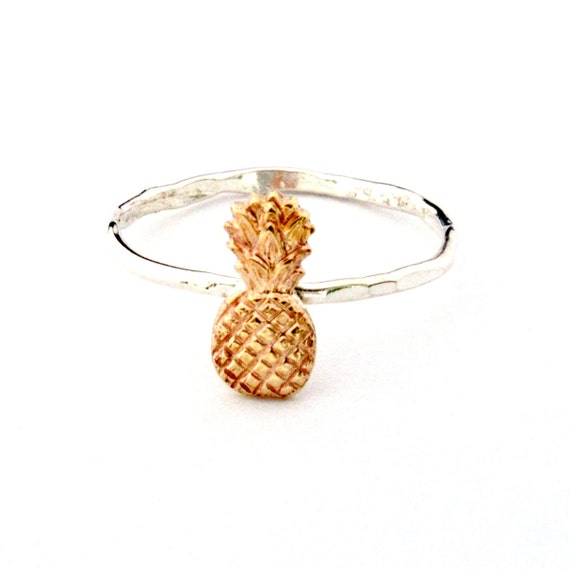 mini pineapple ring sterling silver and gold by