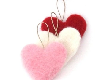 3 felt hearts - needle felted heart ornaments - Pink, red and white hearts