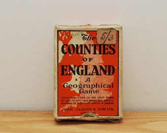 Counties of England, vintage card game, John Jaques, 1950s, southern England including London