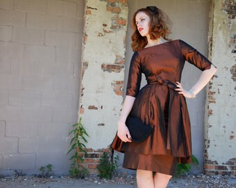 Vintage copper 1950s dress set, convertible wiggle tulle skirt, headpiece veil, three piece XS S