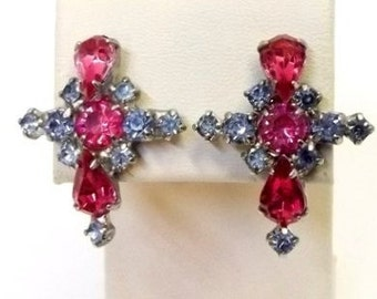 Pink Blue Rhinestone Cross Earrings Screw On Pastel Cross Earrings Easter Spring Jewelry Fuchsia Raspberry Baby Blue Christian Jewelry DD993