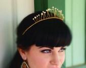 Pearl crown, Hair accessories, Wedding tiara, Bridal crown, Gold headband, Hair accessories pearls, Bridal tiara, Crowns and tiaras.