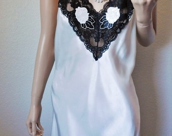 Vintage White Satin Nightie with Black Lace and Rose Appliques - by TJW by Mervyn's - Small