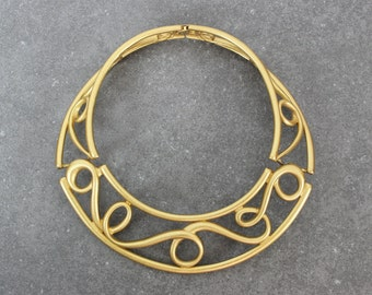 vintage MONET collar necklace / 1980s gold statement collar choker / egyptian revival necklace / open work scroll necklace