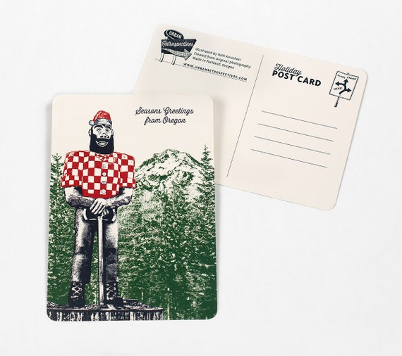 Holiday Oregon Themed Postcards - Paul Bunyan as Santa - Single or Set