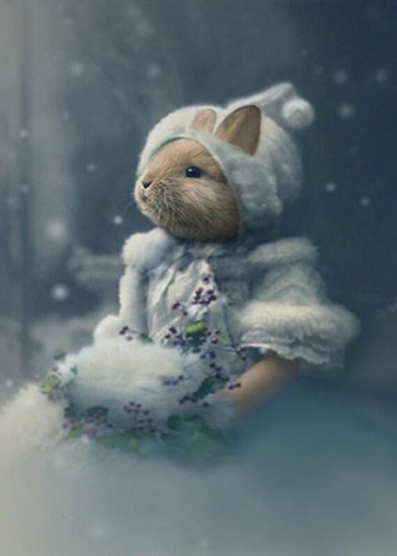 Bonnie, Vintage Rabbit Print, Anthropomorphic, Whimsical Bunny Art, Altered Photo, Christmas Decor, Altered Photo, Bunny Print, Quirky Art