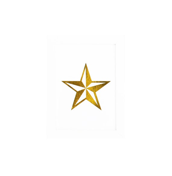 Gold Foil Prints STAR Metallic Gold - Nautical Star Follow Your Dreams - 5 Point