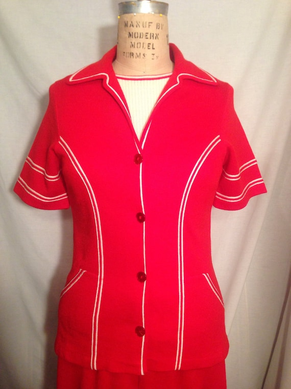 Vintage 70s Red and White Misses Three Piece Polyester Leisure Suit Size 12 t4