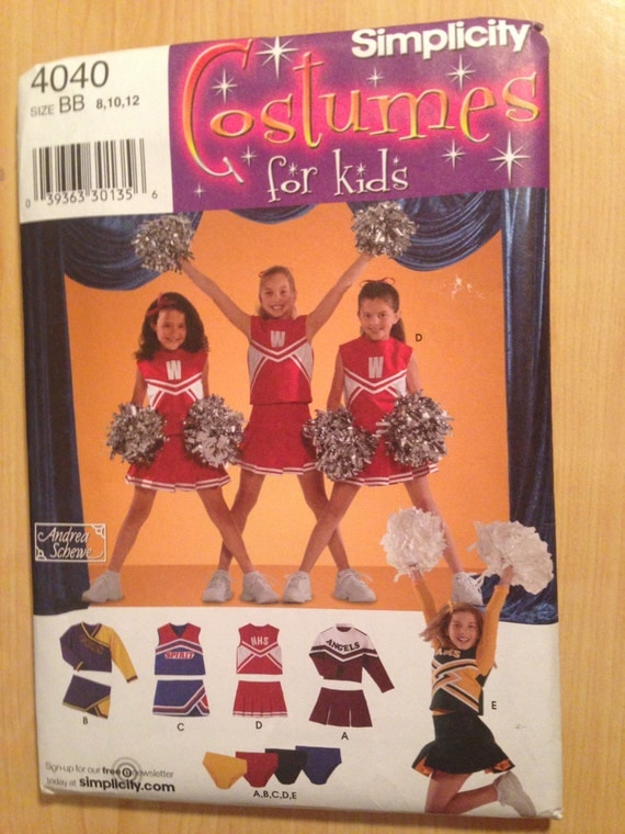 Simplicity 4040 Sewing Pattern Child's and Girl's Cheerleader Costume Size 8, 10, 12 Uncut