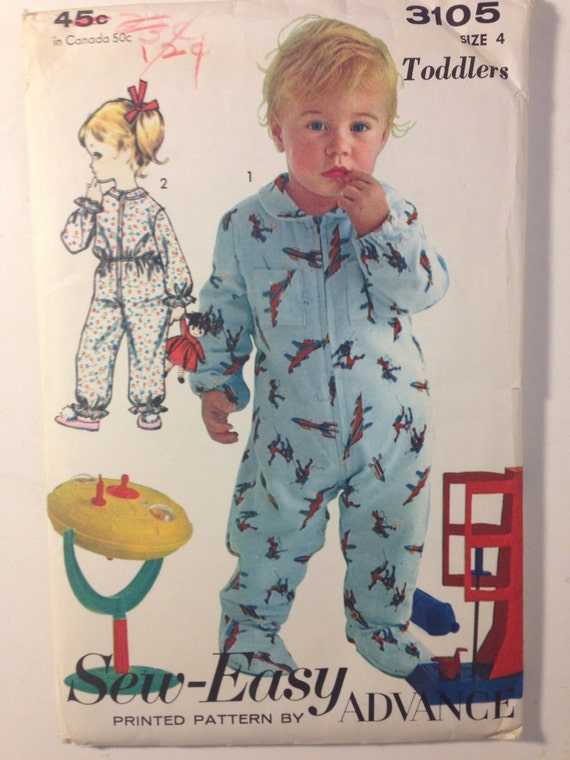 Vintage 60s Advance 3105 Sewing Pattern Astronaut Suit or Pajamas For Children Size 4