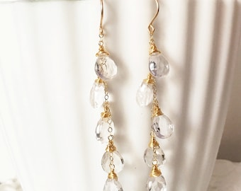Earring Waiola - crystal quartz earrings - bridesmaid gift (E308)
