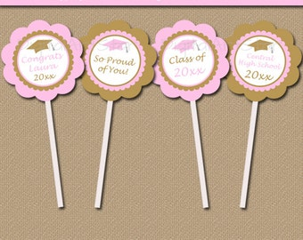 Pink and Gold Graduation Party Decorations, Girl Graduation Decoration Instant Download, Graduation Cupcake Pick, Pink Cupcake Toppers G6