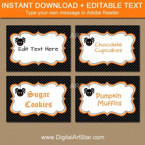 Halloween buffet table - Halloween Labels Buffet Cards Dessert Table Labels Diy