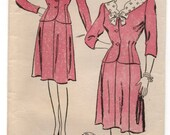 "1940's New York Two-Piece Dress with Jacket and Skirt Pattern - Bust 29"" - No. 752"