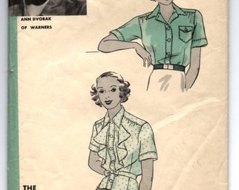 """1930's Hollywood Blouse with Two Sleeve lengths with Ruffle Collar Pattern - Bust 38"""" - No. 1121"""