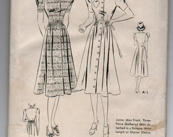 "1930's Butterick One-Piece Dress, Button-up, Heart Pocket, Puff Sleeves Pattern - Bust 33"" - No. 7791"