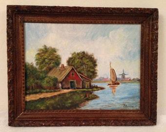Vintage LANDSCAPE OIL PAINTING Impressionist Windmill Seascape signed Elaine