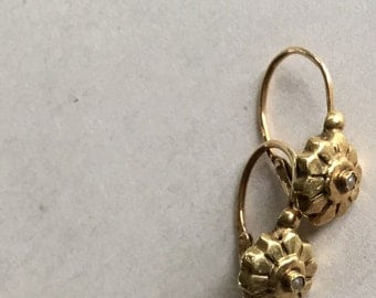 Vintage French tiny pearl Regional Dormeuse Earrings, in 18K Gold