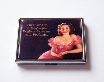 Funny Cigarette Case, Slim Cigarette Case, Metal cigarette case, Cigarette box, Humor, Sarcasm, Profanity, 3 Languages (5907)