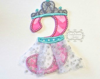 Ballerina birthday number 3 iron on applique, number three  birthday ballerina embroidered patch, pink teal ballerina third birthday patch