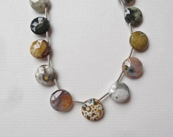Natural Ocean Jasper Faceted Side drilled Coin Drops Beads 13 Beads P340