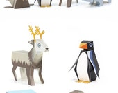 Ice Animals Paper Toys - DIY Paper Craft Kit - 3D Paper Animals - 4 Ice Animals