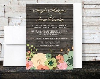 Rustic Floral Wood Reception Only Invitations and RSVP - Orange Teal Pink Green - Country Post Wedding Reception - Printed Invitations