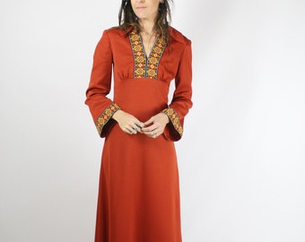 70s Bohemian Maxi Dress, Vintage Boho Dress Bell sleeves Folk Floral, Small, 3798