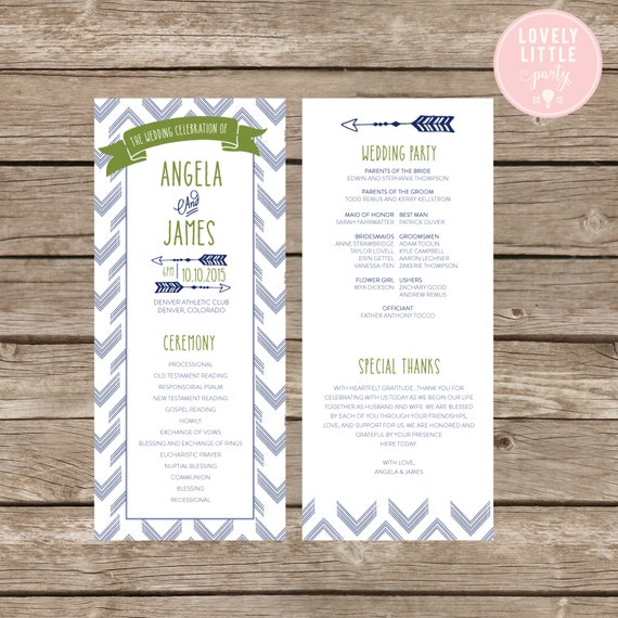 Arrow Modern Wedding Program- DIY Printable - Lovely Little Party - You Choose Color
