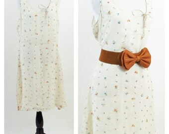 Vintage 1990's Summer Dress - Cream Floral Tank Dress - Summer Frock - Silk floral Dress - Size Medium