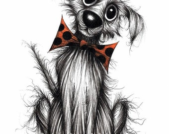 Funky dog Print A4 size picture Groovy fashionable pet pooch doggie pup hound in trendy spotty bow tie Cute face animal art printed on paper