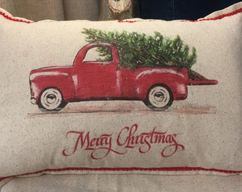 Christmas Pillow, farmhouse, free customization, Red truck with Christmas tree, rustic, farm, barn 12x18