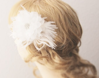 Bridal Flower Hair Clip - Rhinestone Feather Hair Flower - Wedding Hair Accessory