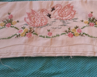 Embroidered swans unfinished pillow cases TWO cases for 12.00  50 polyester and 50% cotton