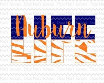 Life, Tiger Print, Auburn Script, Life, Auburn Football, Football Life, SVG, DXF, EPS, Instant Download, Digital Design