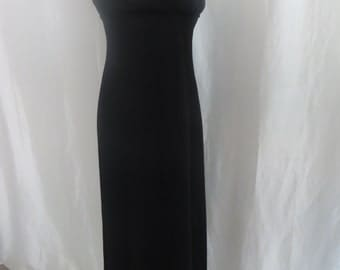 Vintage 70s womens spaghetti strap dress, long  maxi dress, black summer gown