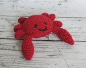 Carl the Crab, Crochet Crab Stuffed Animal, Red Crab Amigurumi, Plush Animal, MADE TO ORDER