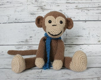 Ernie the Monkey, Crochet Monkey, Stuffed Animal, Monkey Amigurumi, Plush Animal, MADE TO ORDER