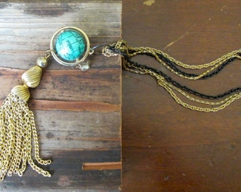Earth Tassel Necklace world globe mother earth environment conservation orbit blue gold by Nancelpancel on Etsy