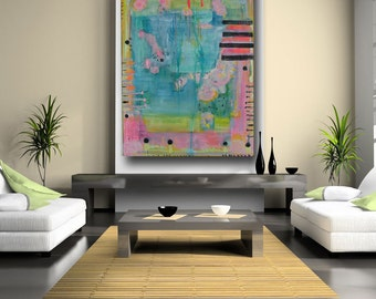 Abstract Art Painting Blue Yellow Pink Whimsical Art Acrylic with Lots of Texture Contemporary Art Shabby Chic by Cheryl Wasilow.
