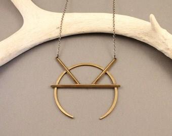Coyote naja modern brass squash blossom necklace with gunmetal chain- boho tribal