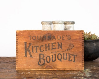 Vintage Home Decor / 1930's / Original Kitchen Bouquet Wood Shipping Crate / Vintage Storage Cabinet