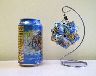 Ghettoblaster Beer Can Origami Ornament.  Upcycled Recycled Repurposed Art