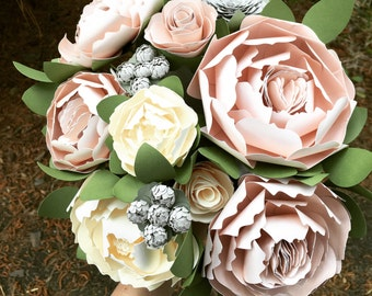 Blush Paper Flower Bouquet - Pink and Ivory - Peonies - Succulent Bouquet - Wedding Bouquet