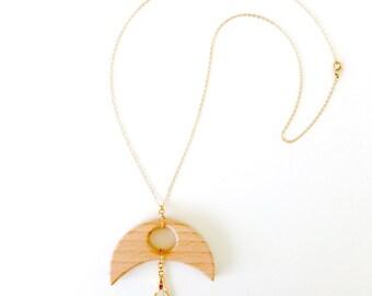 Wooden Luna Golden Feather Necklace