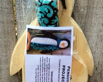 DIY Carved Wood Penguin Project Kit, DIY Project Kit for Standing Carved Wood Penguin with Scarf, DIY Wood Penguin Supply Kit