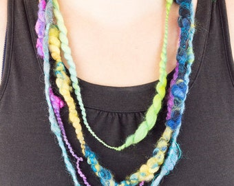 Layered Necklace, Multi Strand Necklace, Art Yarn Necklace, Fiber Textile Necklace, Fabric Statement Necklace, Multicoloured Bib Necklace