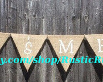 Rustic Mr and Mrs hanging burlap wedding banner, Country Wedding decor, hand painted on triangle burlap, hanging wedding banner